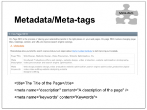 photo showing image for Metadata tags