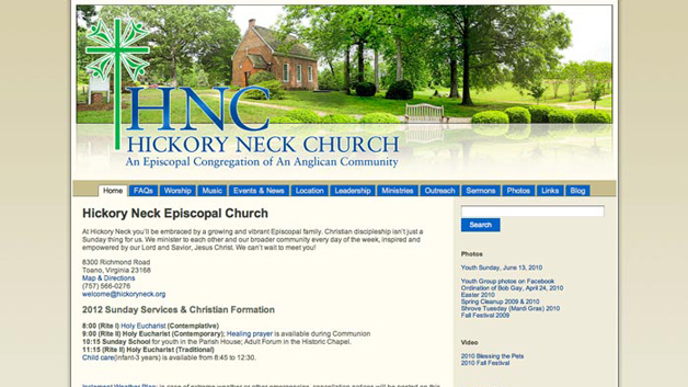 Hickory-Neck-Episcopal-Church-web-design